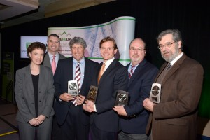From Left to Right – 2015 MEREDA Recognition Awards were presented by MEREDA Vice President of Operations, Shelly R. Clark, and MEREDA President, Michael O'Reilly, to President's Award recipient Gary Vogel of Drummond Woodsum, Volunteer of the Year award recipient Drew Sigfridson of CBRE | The Boulos Company, Robert B. Patterson, Jr. Founders' Award recipient Jamie Whelan of Saco & Biddeford Savings Institution, and Public Policy Award recipient Rick Stauffer of Preti Flaherty.